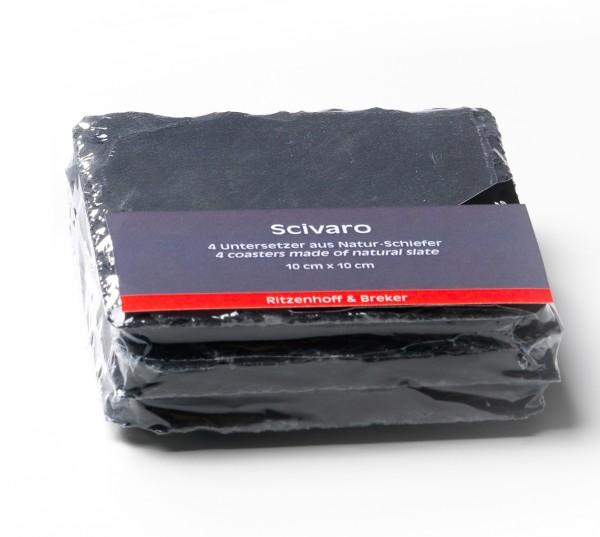 SCIVARO - 4er Set Schieferuntersetzer